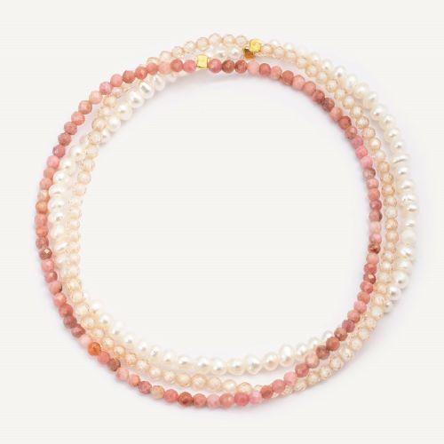 Malinowy (rodonit, cyrkon beżowy, perła)